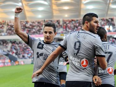 Thauvin y Gignac celebrando un gol con el Marsella.