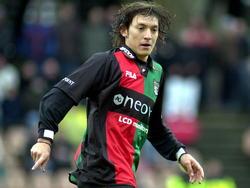 Edgar Barreto maakt als nieuwkomer in Nederland zijn debuut voor NEC in de wedstrijd FC Groningen - NEC. De Paraguayaan komt over van Cerro Porteño. (08-02-2004)