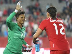 Karina LeBlanc (l.) und Christine Sinclair wollen bei der Heim-WM jubeln