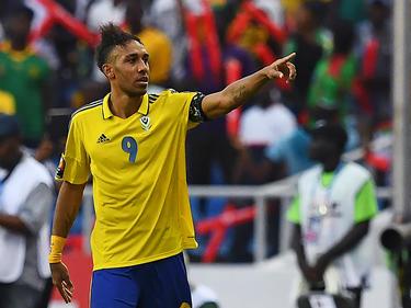 Pierre Emerick Aubameyang en un partido con la selección de su país. (Foto: Getty)