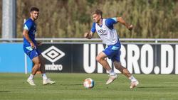 Simon Terodde (r.) jetzt die sportliche Lebensversicherung des FC Schalke 04
