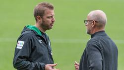 Rutschte mit Werder auf den Relegationsplatz ab: Florian Kohfeldt (li.)