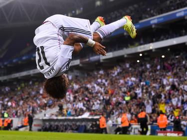 Real Madrids Marcelo feiert seinen Treffer per Salto
