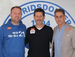 Andreas Heraf (m.) mit FAC-Geschäftsführer Christian Kirchengast und Sportmanager Lukas Fischer. © FAC