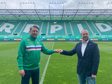 Verlängern die Zusammenarbeit: Zoran Barišić (l.) und Rapid-Boss Martin Bruckner