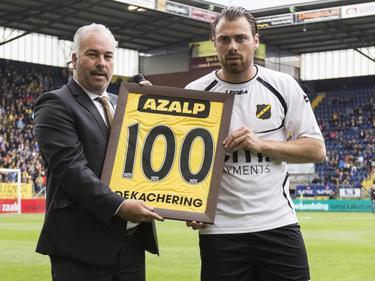 Kenny van der Weg speelt in de play-offs tegen FC Eindhoven zijn honderdste wedstrijd in het shirt van NAC Breda. (16-05-2016)