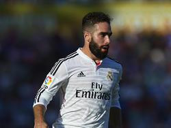 Dani Carvajal in balbezit voor Real Madrid in de Primera Division. (18-10-14)