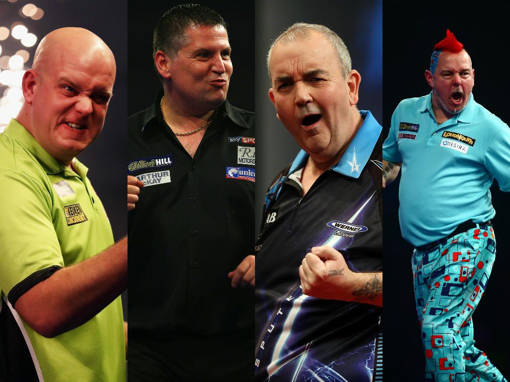 Kämpfen um die Premier-League-Krone (v.li.): Michael van Gerwen, Gary Anderson, Phil Taylor und Peter Wright