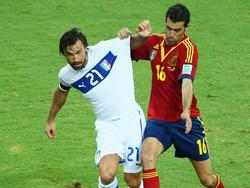 Beim Confed Cup standen sich Italiens Andrea Pirlo (l.) und Spaniens Sergio Busquets gegenüber