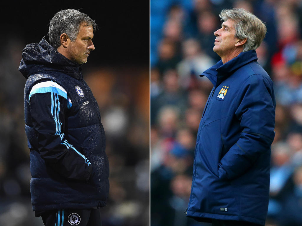 Manuel Pellegrini (r.) will mit Manchester City wieder an Chelsea und José Mourinho heranrücken