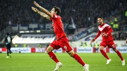 Der Düsseldorfer Benito Raman jubelt über seinen Treffer zum 4:1