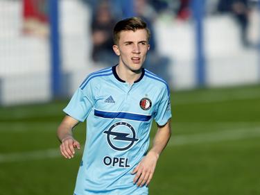 Dylan Vente krijgt speelminuten tijdens het oefenduel Feyenoord - 1. FSV Mainz 05. (07-01-2017).