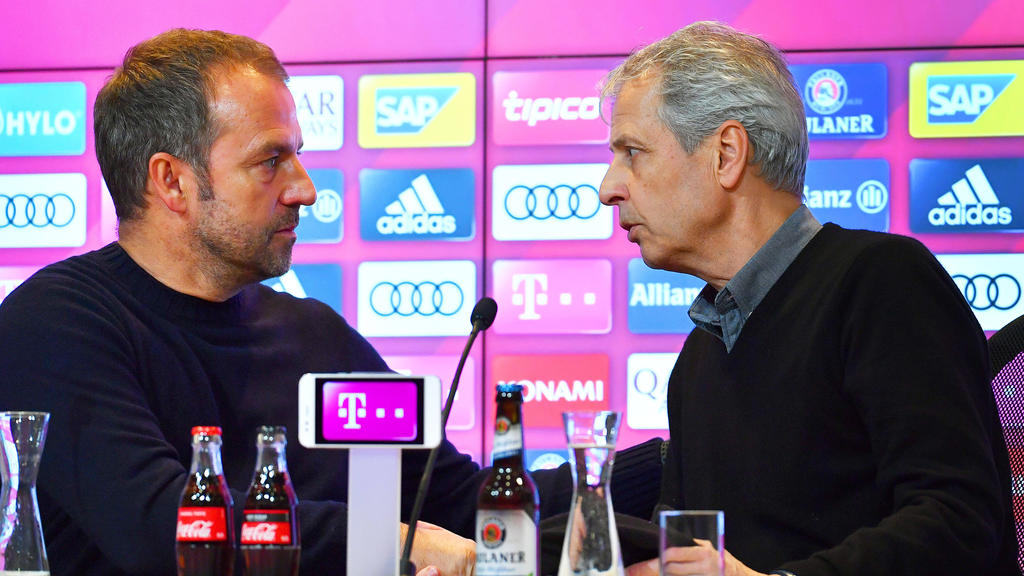Hansi Flick vom FC Bayern und BVB-Coach Lucien Favre im Gespräch