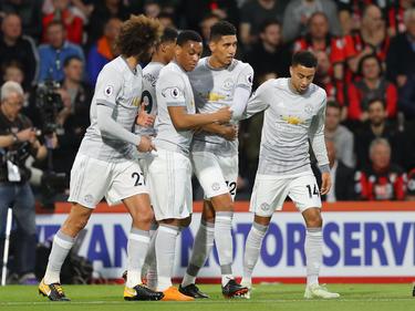 Die Spieler von Manchester United jubeln über ihren Sieg