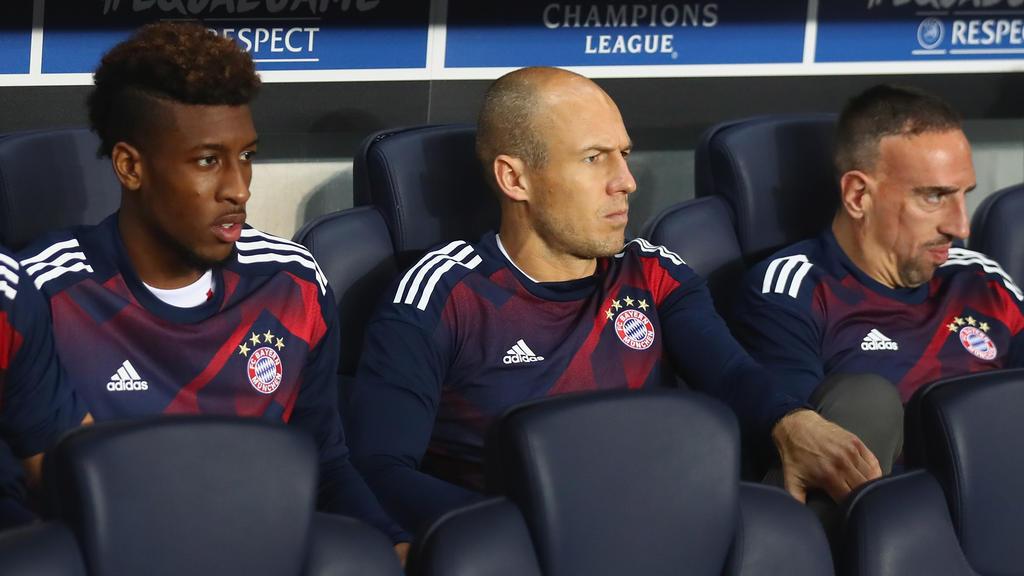 Verstehen sich: Kingsley Coman (l.), Arjen Robben (M.) und Franck Ribéry (r.)