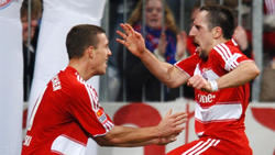Lukas Podolski udn Franck Ribéry kickten 2008 gemeinsam für den FC Bayern
