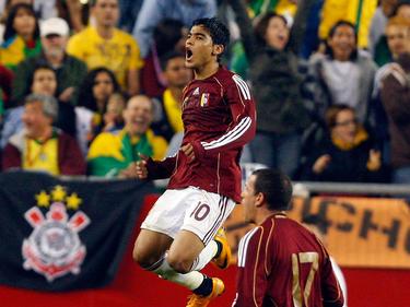 Vargas celebra un tanto con la selección venezolana en 2008. (Foto: Getty)