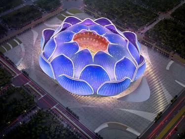 Aspecto futuro del nuevo estadio del Guangzhou Evergrande.