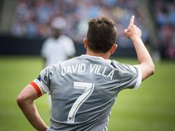 David Villa heeft wat te juichen tijdens het competitieduel New York City FC - Orlando City (23-04-2017).