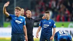 Hoffenheims Robert Skov, Trainer Sebastian Hoeneß, Benjamin Hübner und Georginio Rutter (l-r) feiern nach der Partie