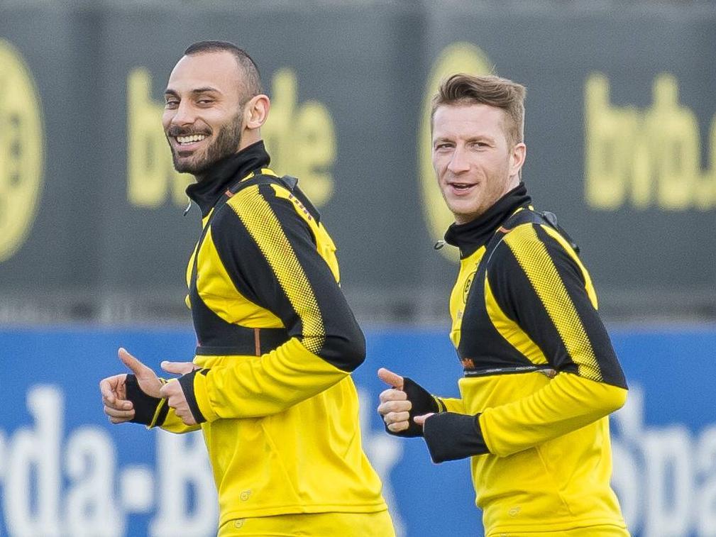 Ömer Toprak und Marco Reus drehten am Montag ihre Runden auf dem Trainingsplatz