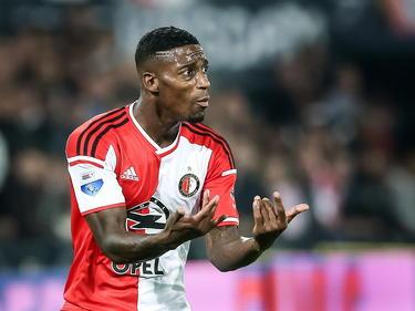 Onbegrip bij Ruben Schaken tijdens de wedstrijd Feyenoord - Willem II in de Eredivisie. (13-09-14)