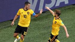 Belgiens Superstar Eden Hazard (li.) machte mit dem 2:0 den Sack zu