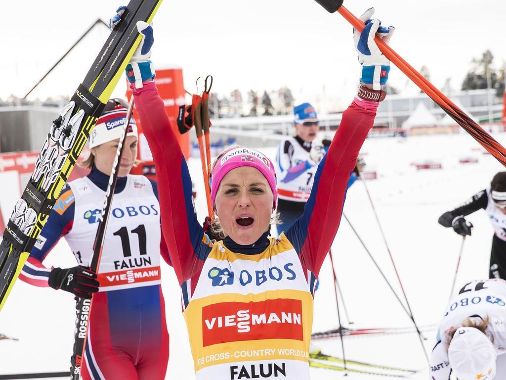 Wieder einmal am Jubeln: Therese Johaug ist auch in Falun die Beste