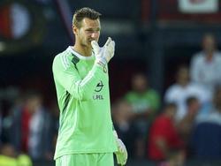 Concentratie bij Erwin Mulder tijdens Feyenoord - Beşiktaş. (30-07-2014)