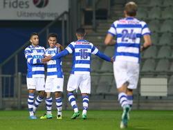 De Graafschap viert het doelpunt in de KNVB bekerwedstrijd tegen Deltasport. V.l.n.r:  Caner Çavlan, Karim Tarfi, Soufian Echcharaf en Jan Lammers. (28-10-2014)
