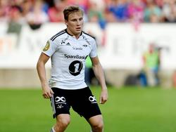 Jonas Svensson maakt speelminuten tijdens het competitieduel SK Brann - Rosenborg BK (21-08-2016).