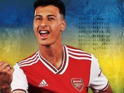 Martinelli ya posa con la camiseta del Arsenal.