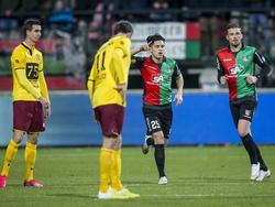 Navarone Foor heeft zojuist NEC op een 1-0 voorsprong gezet tegen Roda JC Kerkrade. (27-02-2015)