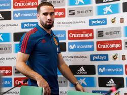 Carvajal entra a la sala de prensa hace unas horas. (Foto: Imago)