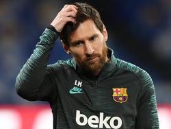Messi en el entrenamiento de hace unos minutos en San Paolo.