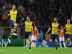 Aaron Ramsey (l.) erzielte für Arsenal gegen Galatasaray ein Traumtor