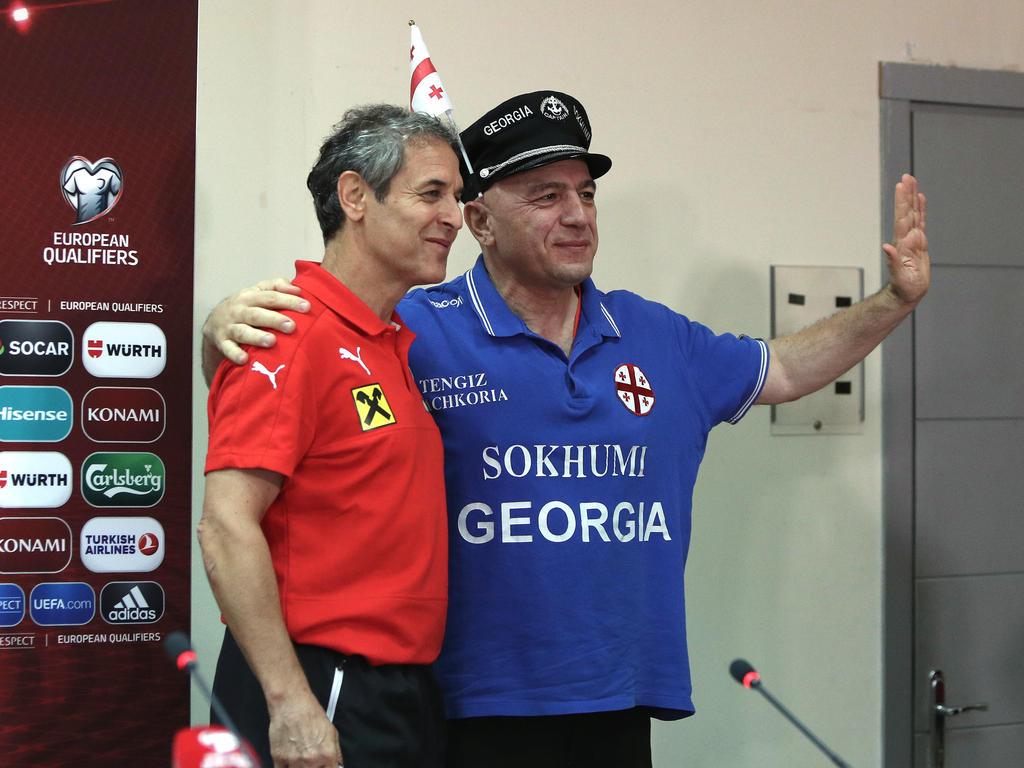 ÖFB-Teamchef Marcel Koller wurde bei seiner Pressekonferenz in Georgien freundlich empfangen