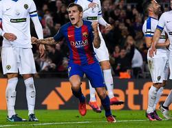 Digne celebra un tanto en la Copa contra el Hércules. (Foto: Getty)