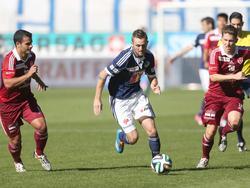 Kampf um den Ball bei Luzern gegen Vaduz
