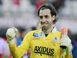 Vreugde bij Khalid Sinouh na afloop van Sparta Rotterdam - NEC Nijmegen. (9-5-2014)