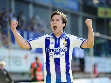 Lasse Vibe schreeuwt het uit na zijn treffer tegen IFK Norrköpping. (25-05-2014)