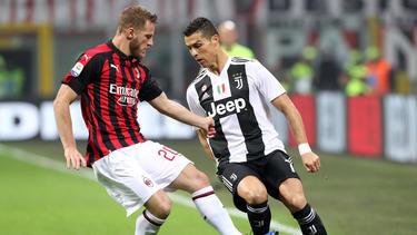 Cristiano Ronaldo erzielte gegen AC Milan seinen achten Treffer in der Serie A