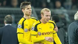 Julian Weigl (l.) und Sebastian Rode spielen unter BVB-Coach Lucien Favre keine sonderliche Rolle