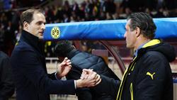 Thomas Tuchel (l.) trifft mit PSG auf seine Ex-Kollegen von Borussia Dortmund
