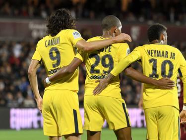 Das neue Wunder-Trio von Paris: Edinson Cavani, Kylian Mbappé und Neymar (v.l.)