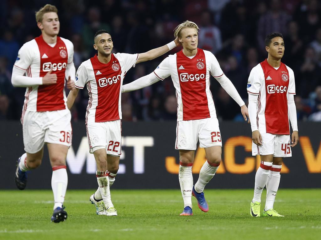 Die neuen Ajax-Stars um Justin Kluivert, Kasper Dolberg und Hakim Ziyech (v.r.)