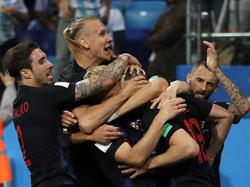 Kroatischer Jubel nach der starken Leistung gegen Argentinien