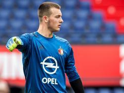 Feyenoord-doelman Justin Bijlow tijdens een training van de Rotterdammers. (26-06-2016)
