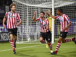 Denis Mahmudov (m.), Jeremy de Nooijer (r.) en Thomas Verhaar (l.) vieren een treffer tijdens het competitieduel Sparta Rotterdam - Almere City FC. (27-09-2014)