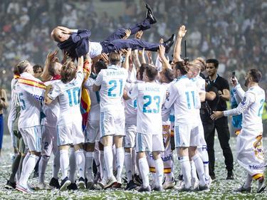 El Real Madrid celebra su tercera Copa de Europa consecutiva. (Foto: Imago)